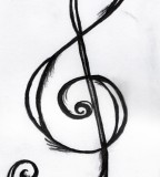 Chic Treble Clef Tattoo Sketch Design