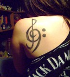 Exotic Treble bass Clef Tattoo for Women or Men