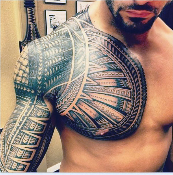 tribal shoulder and chest tattoos for men
