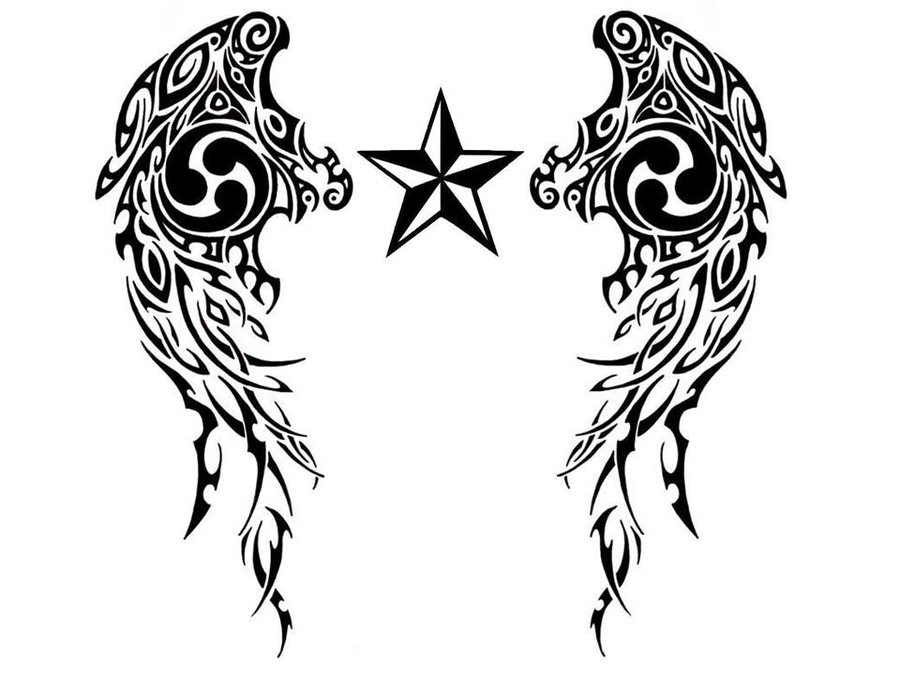Awesome nautical stars wings tribal tattoo design by for Tribal star tattoo
