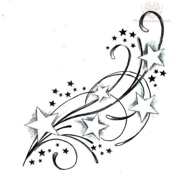 feminine cute swirly star tattoos designs star tattoos. Black Bedroom Furniture Sets. Home Design Ideas