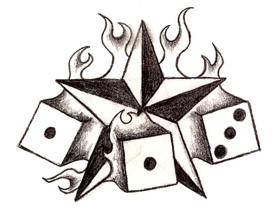 burning star dices tattoos gallery design sketches star tattoos. Black Bedroom Furniture Sets. Home Design Ideas