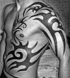Tribal Upper-Arm to Ribs Tattoo Designs - Tribal Design Ideas for Men