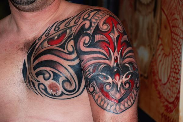 Polynesian Tribal Upper Arm To Chest Tattoo Designs For Men Tattoomagz