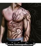 Masculine Sleeve to Ribs / Abdomen Tribal Tattoo Design for Men