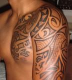 Polynesian Tribal Chest-to-Sleeve Tattoo Design For Men