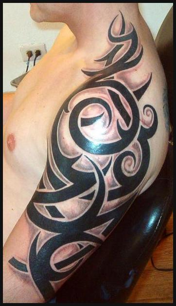 Polynesian Tribal Upper Arm Tattoos Design For Men Tribal