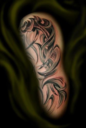 Upper arms half sleeve tribal tattoos for men tribal for Upper arm half sleeve tattoos