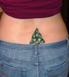 Artistic Lower Back Green Shades Trinity Knot Tattoo Design for Girls