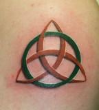3D Green Orange Trinity Knot Tattoo Design