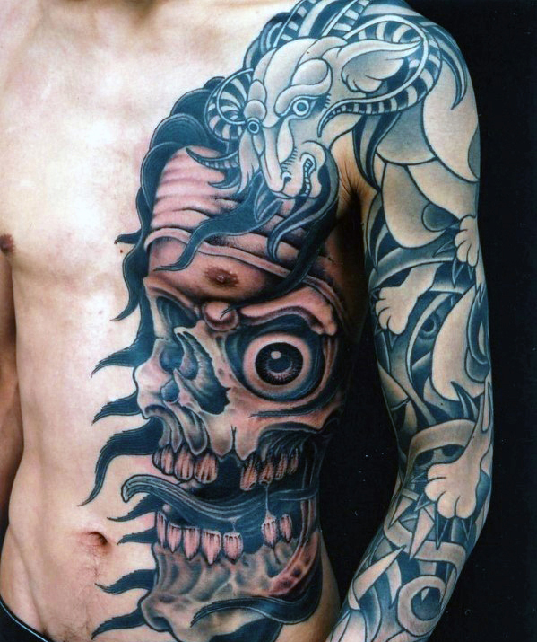 trippy skull tattoos for men
