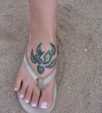 Amazing Turtle Tattoo On Girl Foot