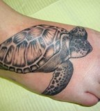 Sea Turtle Right Foot - Tattoo Design