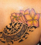 Polynesian Turtle and Flower Tattoo