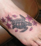 Turtle Flowers Foot Tattoo Ideas