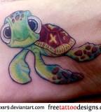 Cartoon Sea Turtle Tattoos Ideas