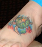 Star Turtle Tattoo on Foot Design
