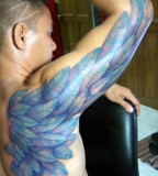 Blue Color Archangel Wing Tattoo Artists