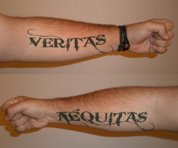 Amazing boondock saints inspired veritas and aequitas for Boondock saints tattoos