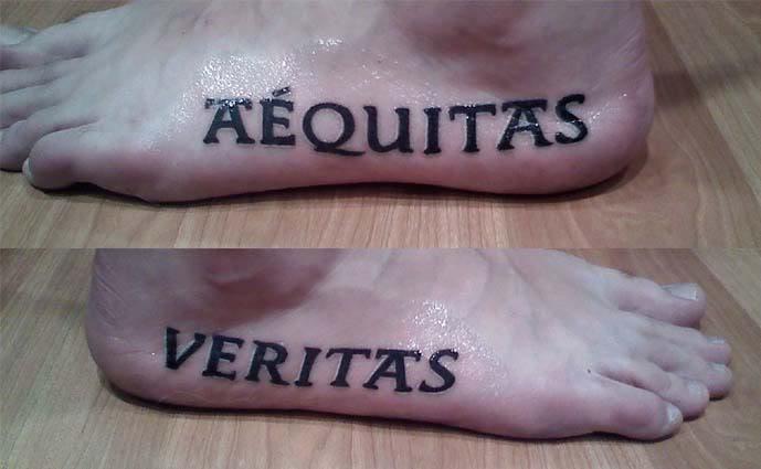 Gorgeous pairs of artistic aequitas veritas tattoo on for Boondock saints veritas aequitas tattoos