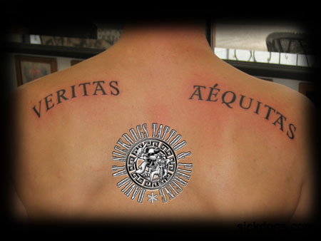 Stunning veritas aequitas back tattoo design by david for Veritas aequitas tattoos