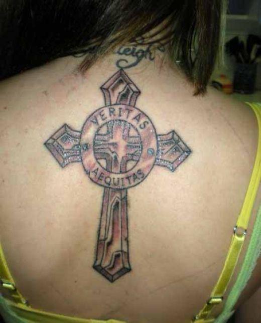 Cross symbol veritas and aequitas back tattoo design idea for Veritas aequitas tattoos