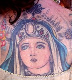 Christian Back-Tattoos of the Crowned Virgin Mary - Tattoos for Women