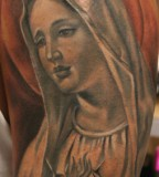 Unique Painting-like Virgin Mary Tattoos Designs - Religious Tattoos