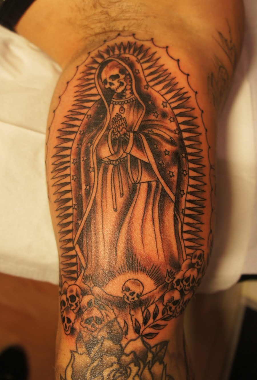 Skull Virgin Mary Arm Tattoo Design for Men – Religious Tattoos