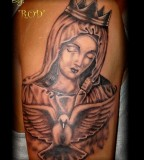 Amazing Tattoo Art of Crowned Virgin Mary and Pigeon - Religious Tattoos