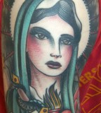 Amazing Design of the Virgin Mary Christian Tattoo