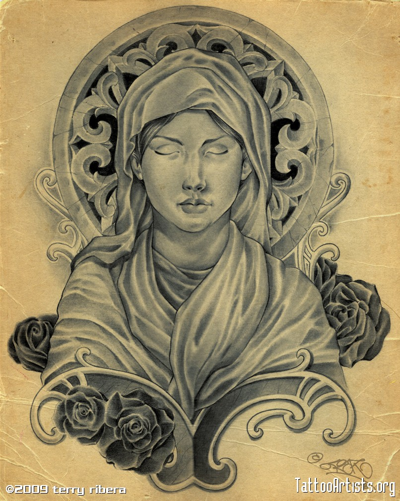Fascinating Virgin Mary Sketch Drawing For Christian Tattoos