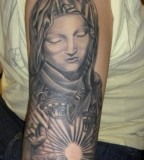 Half-Sleeve Tattoo Design of Illuminated Virgin Mary - Christian Tattoos