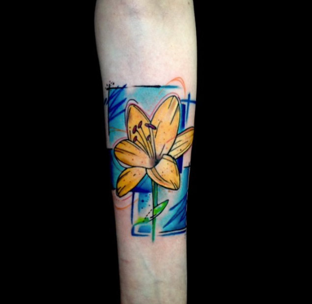 vivid yellow flower tattoo