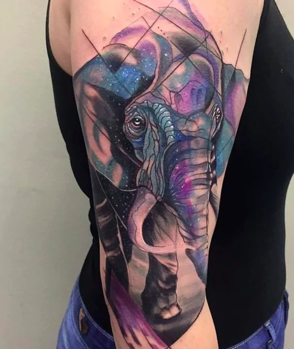 watercolor elephant tattoos for women
