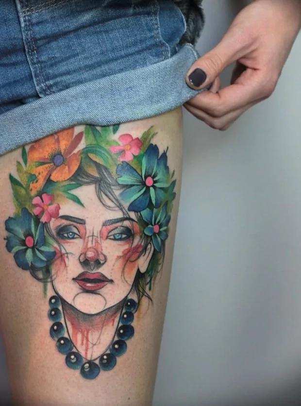 watercolor leg tattoos for women