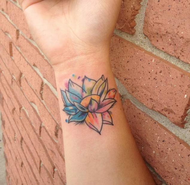 watercolor lotus flower tattoo