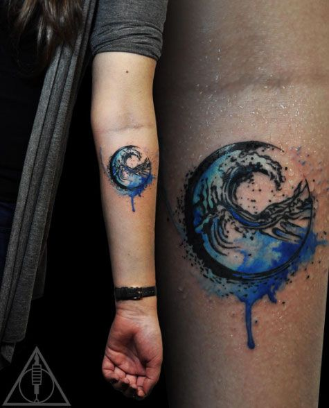 Waves watercolor tattoo