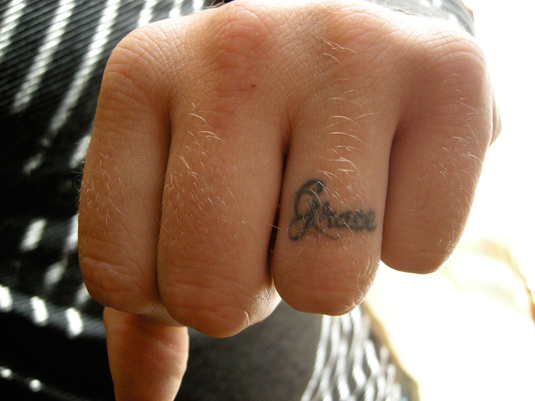 Sweet Couple Name Wedding Ring Finger Tattoo TattooMagz