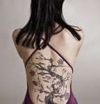 Awesome Big Weeping Willow Tree Tattto on Woman's Back