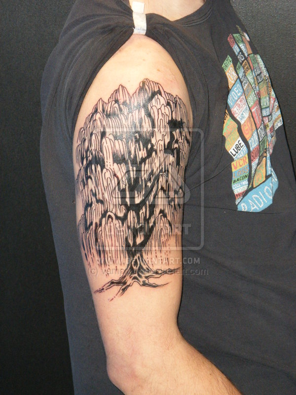Amazing Weeping Willow Tree Tattoo On Right Upper Arm