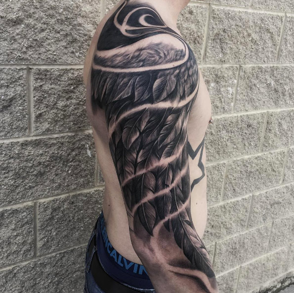 wing sleeve tattoos for men