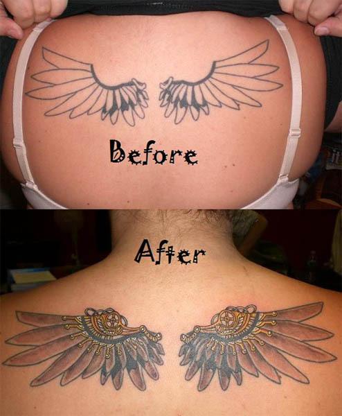 Successful Tattoo Generator 2016: Nice Feminine Wings Tattoo Cover Up For Women