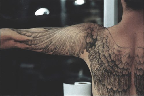 Awesome Angel S Wings Tattoo Design From Back To Arms Tattoomagz