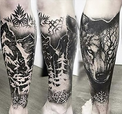 wolf-and-forest-tattoo