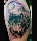 Wolf / Moon / Mountain Tattoo Art Design
