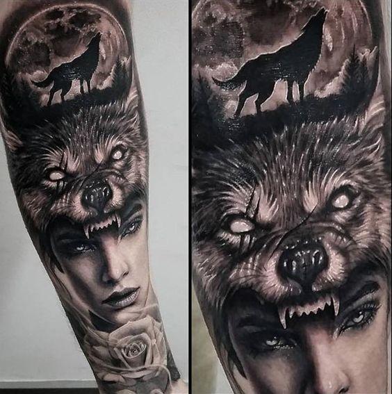 woman-with-wolf-headpiece-tattoo