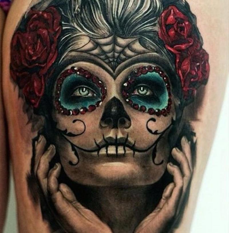 wonderful Santa Muerte girl tattoo