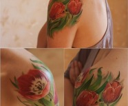 Colorful tulip tattoos