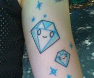 Diamonds tattoos on legs